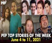 Ito ang sampung pinakabinasang istorya sa PEP.ph (Philippine Entertainment Portal) ngayong linggo ng June 4 - 11, 2021. <br/><br/>I-click ang link sa ibaba ng mga titulo ng istorya.<br/><br/>1. Nicole Hyala, husband in tears over miraculous recovery of daughter, provision worth P2.3M<br/>https://bit.ly/3gqiqHB<br/><br/>2. GMA-7 retaining \